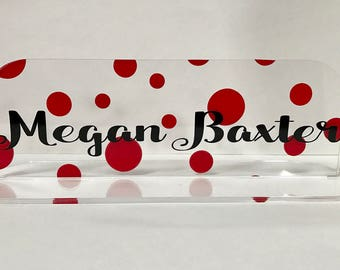 Personalized Desk Name Plate Chevron, Geo, Poka Dots