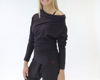 Women's Long Sleeve Shirt - Stretch Cotton Cowl Neck Fitted Tee - Casual - Yoga Wear - Active Wear Top