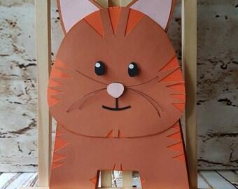 Handmade Cat Birthday Blank Greetings Card