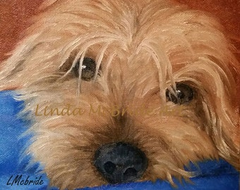 Yorkie 3x3 gift enclosure card from my original oil painting with envelope.