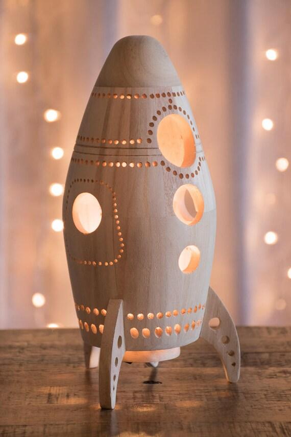 Wooden Rocket Ship Night Light Wood Nursery Baby Kid