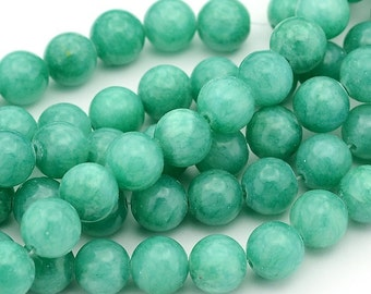 10mm Jade Round Bead - Sea Green - Blue Green - 16 Inch Strand - Gemstone Beads - Jewelry Supplies - Craft Supplies