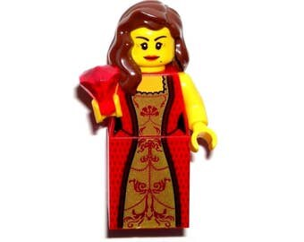 LEGO CASTLE QUEEN Princess Female Girl Minfiigure Red/Gold/Dress/Jewel/Brown Hair/New