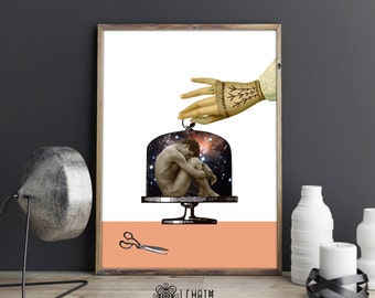 Cyber Monday, Aislamiento collage, Victorian style, Human behaviour, Space galactic, Human mind, Spiritual print, Digital art, Universe