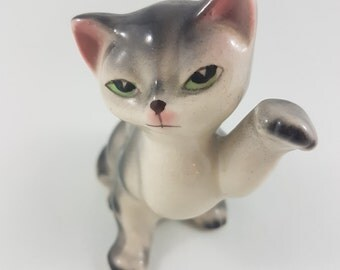 Vintage Ceramic Cat Figurine, Kitschy Cat, Grey Kitten Pink Ears, Japan, Kitten Figurine, Collector