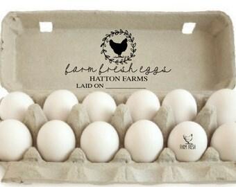 Custom Egg Carton Stamp   Farm Fresh Eggs Stamp