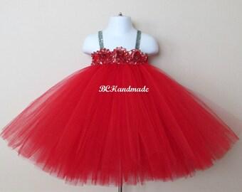 Red christmas tutu dress, red silver tutu dress, holiday tutu dress, Christmas dress, baby first Christmas tutu, Christmas tutu dress, red