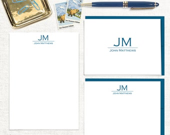 complete personalized stationery set - GRAND MONOGRAM - notepad - note cards - monogrammed stationary - custom letter writing set