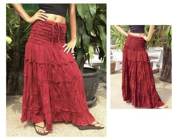 Long Cotton Skirt Dress Gipsy Summer Boho Hippie Floaty Fantasy Smocked Burgundy