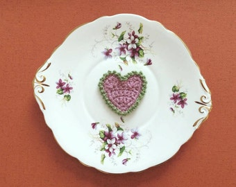 Hanging Pink Heart With Green Edging