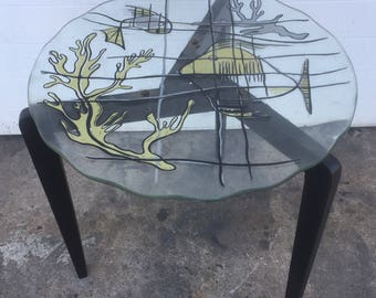 Unusual Fish Paint Decorated Scalloped Edge Glass Top Table