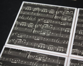 Musical Notes Drink Coasters! Black and White Music Notes - Perfect teacher gift, gift for him, gift for her, musical gift, music notes!