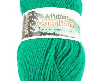Patons Canadiana Green Worsted Weight Yarn, 3.5 Ounce Skein, Afghan Yarn, Yarn Destash, Price Per Skein, 6 Available