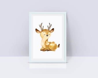 Printable Deer Nursey Decor, Deer Instant Download, Deer Nursery Decor, Nursery Wall Art, Deer
