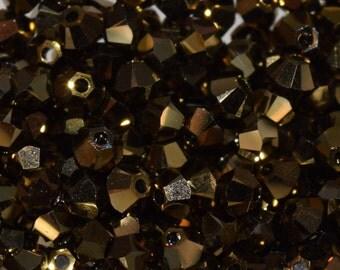 Crystal Dorado 2X Bicone Swarovski beads 3mm, 50 beads, 100 beads