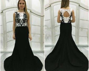 Black and white wedding dress,Mermaid black wedding dress,Long Train,Open  Lace Transparent Back,black white lace,black wedding gown