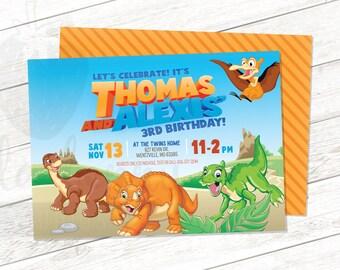 Land Before Time Dinosaur Invitation - Twin Birthday - boy girl birthday - printable invitation