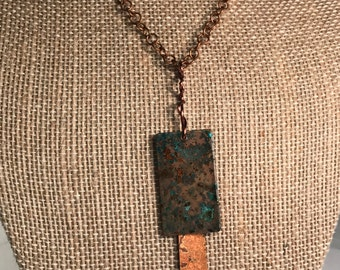 Rustic rectangle copper with turquoise and brown patina-pendant