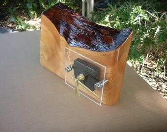 "Solid Western Red Cedar timber Rustic desk Clock hand made....""""""""Postage included"