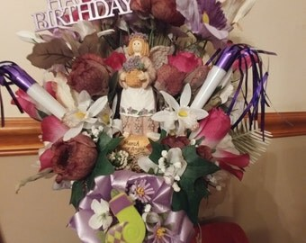 Happy Birthday with March Flower Angel with Mom ribbon
