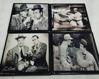 Abbott and Costello Ceramic Tile Drink Coasters / Set of 4 / Abbott and Costello Drink Coaster Set