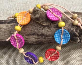Beaded Bracelet Wooden Colourful Bracelet Women's Wooden Bead Bracelet Colourful Jewellery Wooden Jewellery Gift For Her Girlfriend Gift