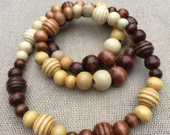 Beaded Necklace Women's Bead Necklace Wooden Bead Necklace Wooden Jewellery Long Necklace Wooden Necklace Gift For Her Girlfriend Gift