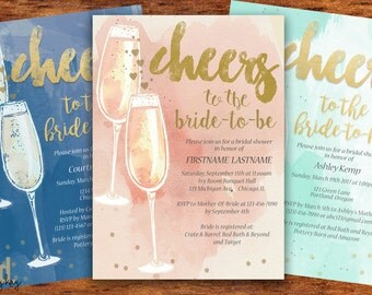 Champagne Bridal Shower Invitation - Pink Blue Mint Gold Watercolor Bridal Shower Invitation - Printed or Printable - Free Shipping