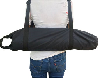Black PVC Tote Backpack Yoga Mat Bag,Pilates Bag Carrier