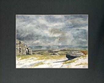 Original watercolour 'Approaching Winter Storm - Hay Tor'