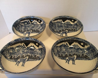 """Vintage Folk craft Wolf By Tienshan set of four 6.5"""" Bowls. Free Shipping."""
