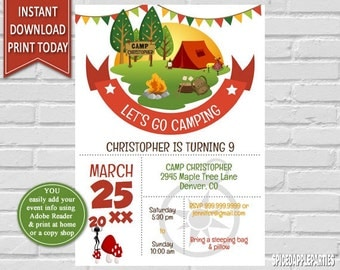 Camping Party |Camping Birthday. Camping Invitation, , Birthday Invitation, Camping, Camping Invite, Printable Invitation, Camp birthday