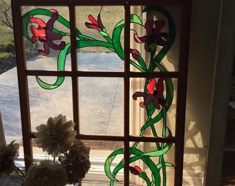 Large Stained Glass Window, Lead Stained Glass, Floral Stained Glass, Stained Glass Window Hanging, Sun Catcher, Vintage Stained Glass