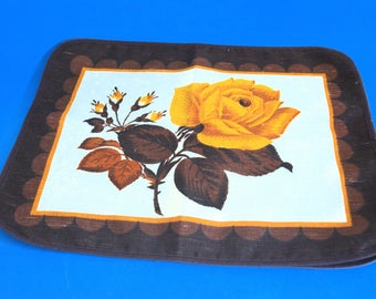 Vintage Karsten Yellow Gold Rose Placemats - Pair of Retro 70s Linen Cotton Place Mats Table Setting