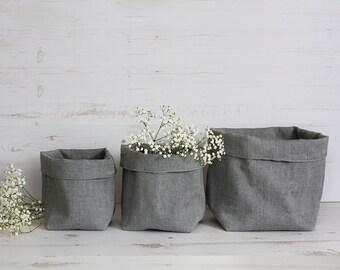 3x SET Grey fabric baskets bins organisers, handmade eco-friendly, nordic home decor