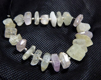 kunzite Faceted Tumble Beads 100% Natural Gemstone Size 5x11 To 10x12 mm Approx