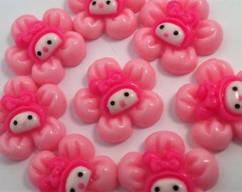 Discount 50% , 8 rabbit flower pink 20mm Resin Flatback,  for ScrapbookIng phone/craft,embellishments