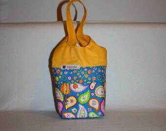 Knitting project bag, Handarbeitskorb, crochet knitting bag, pouch, wristlet, knitting bag, bag of node