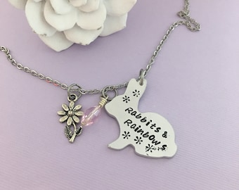 Rabbit Necklace - Rabbit Jewelry - Bunny Necklace - Rabbits & Rainbows - Daughter Necklace - Flower Charm - Bunny Lover -Easter Gift
