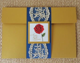 Beauty and the Beast Inspired Wedding Invitation Belle - Invitations, RSVP and Envelope