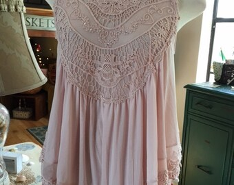 OOAK Dusty Rose Pink Sleeveless Lace Overlay Top Shirt Swarovski Crystals Medium