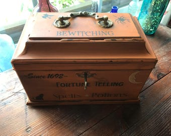 Halloween OOAK Magic Potion Spells Vintage Wood Box Case Witch Witchcraft Wiccan