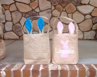 Personalized Burlap Easter Bag