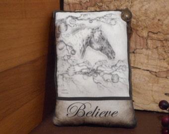 Christmas Pillow Tuck: Primitive Rustic Americana Pillow Tuck. Original Art