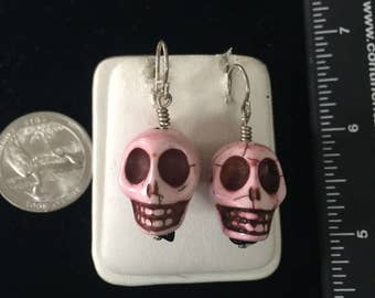 Custom Made Pink Skull Earrings - AB