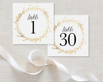 Gold Wreath Wedding Table Numbers Table Place Cards Elegant Table Numbers Instant Download Digital File