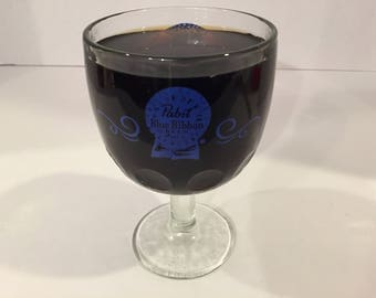 Goblet, Footed Glass, Pabst Blue Ribbon Beer Glass