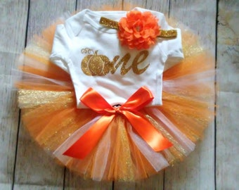Fall 1st Birthday Girl Outfit CUSTOMIZABLE Outfit Girls First Birthday Outfit Pumpkin Orange Cake Smash Photo Prop Personalize