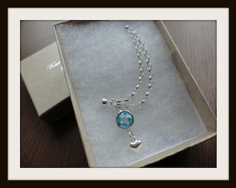 Sparkle heart Double chain piercing earring