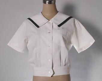 Vintage sailor collar cream blouse